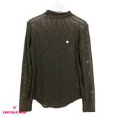 【SHOWCASE】微透金蔥小高領長袖內搭衣(黑)