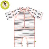德國Lassig-嬰幼兒抗UV短袖連身式泳裝-線條粉