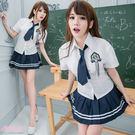 制服 小中大尺碼學生制服 S~XXXL 角色扮演白襯衫藍色百摺裙-愛衣朵拉