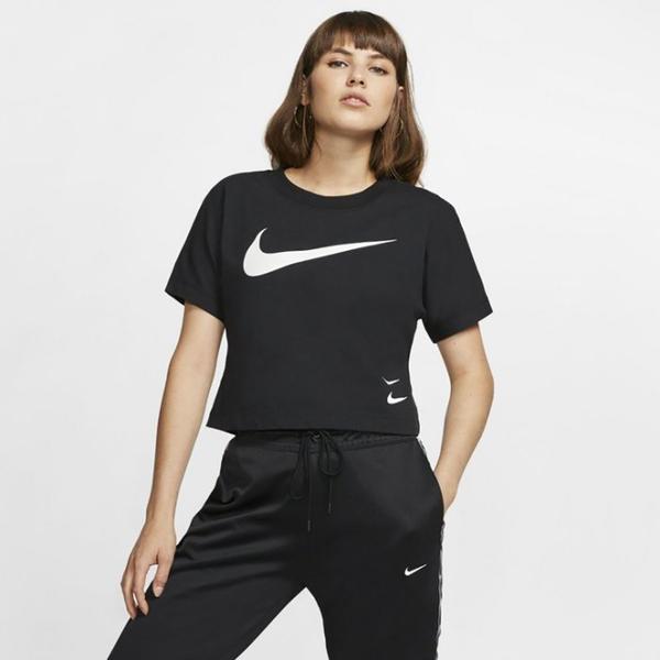 NIKE NSW Sportwear 女裝 短袖 休閒 短版 雙勾 大LOGO 黑 【運動世界】 CJ3765-010