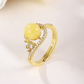 戒指 925純銀 琥珀-氣質迷人生日情人節禮物女開口戒73ga36[時尚巴黎]