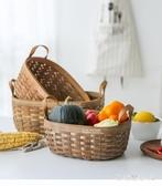 收納筐 日式手木片提手編織收納籃野餐水果面包籃置物筐 QX7116 【棉花糖伊人】