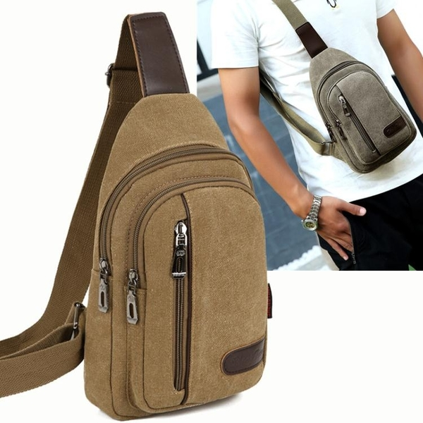 包包新款男士胸包帆布包斜背包男包側背包韓版小背包休閒腰包 新年禮物