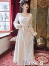 法式復古蕾絲溫柔風方領2020早秋新款收腰氣質超仙洋裝初戀森系