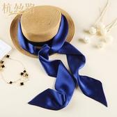 真絲絲巾細窄長條小圍巾百搭領帶女飄帶腰帶裝飾細長絲帶絲綢領巾