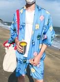 全館83折 夏季浮世繪仙鶴防曬襯衫男漢服七分袖開衫道袍男女寬鬆短褲套裝薄