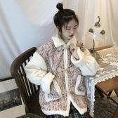 冬裝設計外套女感拼接喇叭袖寬鬆加厚牛角扣毛呢超值價 超值價