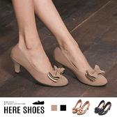 [Here Shoes] 6CM 舒適乳膠鞋墊 日系甜美 蝴蝶結圓頭包鞋 娃娃鞋粗中跟 2色--MIT台灣製-KD8006