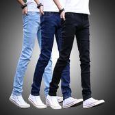 牛仔褲 新款黑色牛仔褲男士修身彈力青少年小腳褲男韓版潮【快速出貨好康八折】