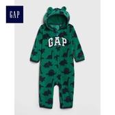 Gap男嬰兒 Logo印花長袖一件式包屁衣 473860-深綠色