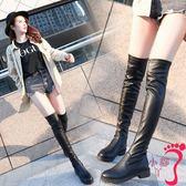 過膝靴 皮靴子女秋冬季新款圓頭粗跟低跟防水臺騎士靴過膝長靴彈力靴