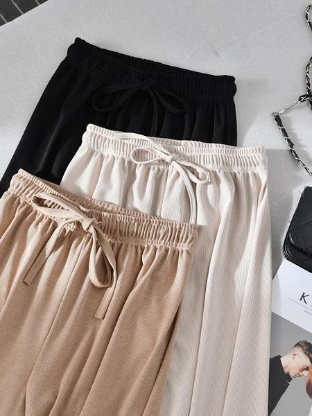 夏季 冰絲 闊腿褲 女寬鬆 顯瘦 高腰 垂感拖地長褲墜感直筒九分休閒褲子