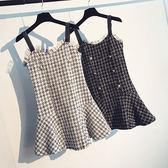 店慶優惠三天-吊帶裙 氣質小香風蕾絲拼接粗花呢吊帶裙寬鬆荷葉邊洋裝女
