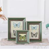 美式復古簡約鬆木實木淡雅綠色擺台 創意歐式像框架相框掛牆組合 初語生活