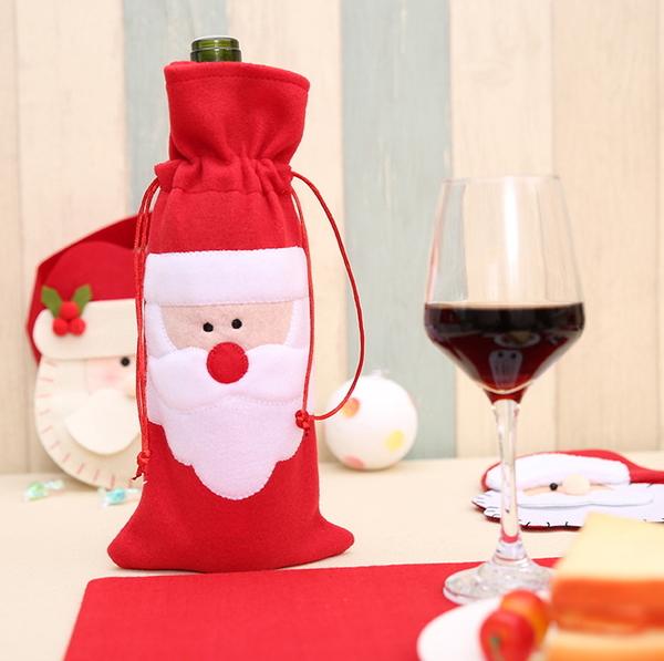聖誕裝飾品 聖誕老人紅酒瓶袋 紅酒瓶袋 聖誕禮品袋─預購CH2443