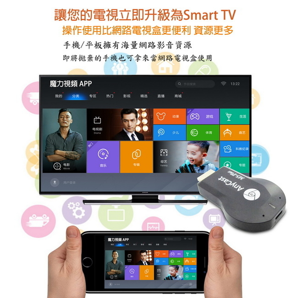 【M5-Plus】五代AnyCast全自動無線影音電視棒(送3大好禮)