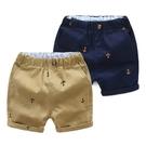 船錨滿印條紋鬆緊褲頭短褲 褲子 現貨 童裝 兒童 男童 中童 小童 橘魔法
