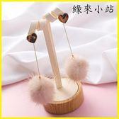 毛球耳環 毛毛髮飾 豹紋毛球耳環女冬天的韓國水貂毛長款耳飾耳墜潮