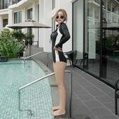 韓國連體游泳衣女長袖防曬拉鏈高領潛水服