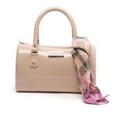Petite Jolie 絲巾裝飾果凍波士頓包-粉膚色