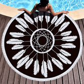 沙灘巾毛巾布 幾何 彩繪 流蘇 野餐巾 海灘巾 圓形沙灘巾 150*150【YC003】 BOBI  04/03