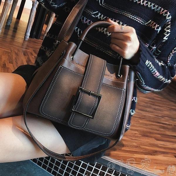 水桶包 大包包女新款潮網紅百搭斜背包時尚簡約復古側背包手提水桶包 【618特惠】