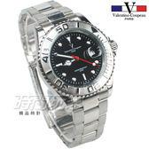 valentino coupeau 范倫鐵諾 夜光 不銹鋼 防水手錶 男錶 黑色面盤 潛水錶 水鬼 石英錶 V12203G