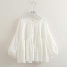 棉麻上衣 新款文藝清新花朵刺繡燈籠袖娃娃衫百搭寬鬆純棉白襯衫涼感