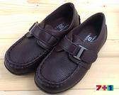 咖啡色 貴族氣質銀扣皮鞋 休閒鞋《7+1童鞋》A351