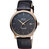 MIDO 美度 Baroncelli III Heritage 復刻經典機械手錶-玫瑰金x黑/41mm M0274073608000