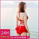 現貨★梨卡 - 日不落之戀連身泳裝 [顯瘦+集中鋼圈]性感大露背小荷葉綁帶C538