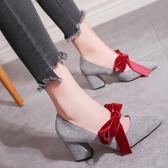 高跟鞋女粗跟2018春季新款絨面尖頭淺口韓版單鞋女中跟蝴蝶結女鞋  良品鋪子