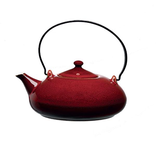 【Luzerne】陸升瓷器 Rustic 435ml 提把茶壺-酒紅色 /RT1308043