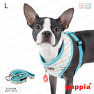 狗日子《Puppia》秀麗格紋胸背A組 L號附《同款設計牽繩》完美搭配高價值 蜜桃/粉藍 胸背帶項圈