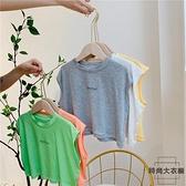 寶寶無袖上衣夏薄款透氣外穿寶寶背心韓版字母印花【時尚大衣櫥】