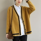 V領針織外套 休閒長袖毛衣外套 排扣開衫針織衫/3色-夢想家-0118