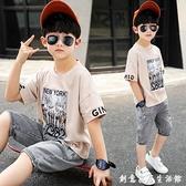 兒童裝男童夏裝新款帥氣男孩韓版洋氣網紅時髦夏季套裝潮衣服