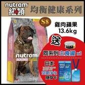 【送日本空氣清淨卡*1+主食罐*1】【免運】*WANG*紐頓均衡健康系列-S8大型成犬/雞肉蘋果配方13.6kg