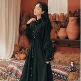 小黑裙 冬季洋裝女加厚學生桔梗裙顯瘦秋冬法式復古打底長款小黑裙 2色