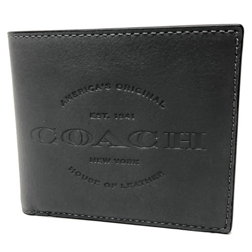 【COACH】經典 LOGO 壓印皮革8卡對折輕便短夾(灰)