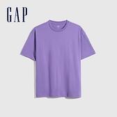 Gap男女同款 棉質厚磅舒適圓領短袖T恤 590048-紫色