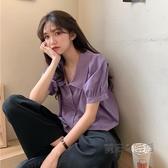夏季韓版新款短款法式紫色短袖襯衫外穿百搭心機設計感上衣女 萬聖節