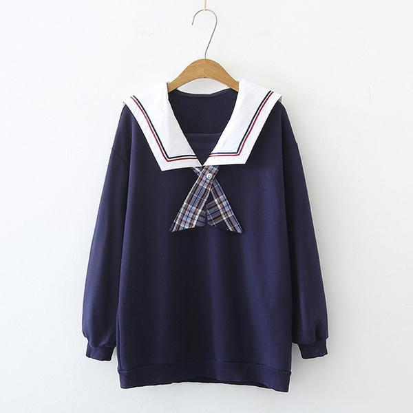 *ORead*韓版海軍領結套中長款衛衣(藍色F碼)