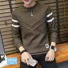 【Y199】shiny藍格子-隨性簡約.秋冬季男圓領條紋袖針織上衣