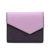 botkier Cobble Hill Mini 拼接撞色防刮皮革壓釦短夾(粉紫/深紫色)261002-4