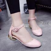 韓版漆皮蝴蝶結包頭涼鞋女鞋圓頭粗跟單鞋 俏腳丫