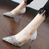 時尚細跟套腳女鞋2018春季百搭拼色側空單鞋淺口尖頭高跟鞋新款女