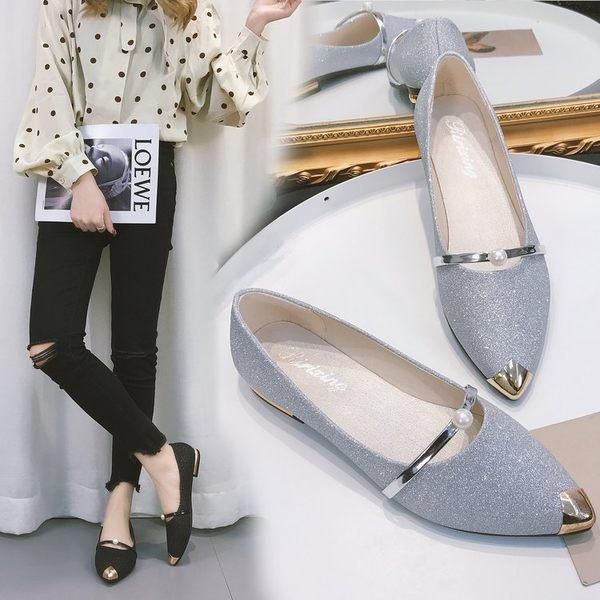 2018春季新款珠珠淺口低幫鞋女尖頭護士粗跟單鞋時尚休閒豆媽瓢鞋『櫻花小屋』