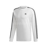 adidas 長袖T恤 3-Stripes Tee 白 黑 男款 大學T 運動休閒 【ACS】 ED5959