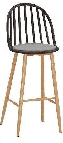 8號店鋪 森寶藝品傢俱 品味生活 c-01 餐廳 吧檯椅系列 1043-2伊蒂絲造型吧椅(黑)(五金腳)(8328c)(高)